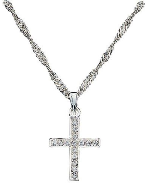 Montana Silversmiths Rhinestone Cross Pendant Necklace, Silver, hi-res