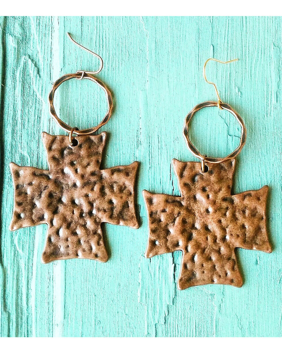 Jewelry Junkie Hammered Copper Cross Earrings, Copper, hi-res