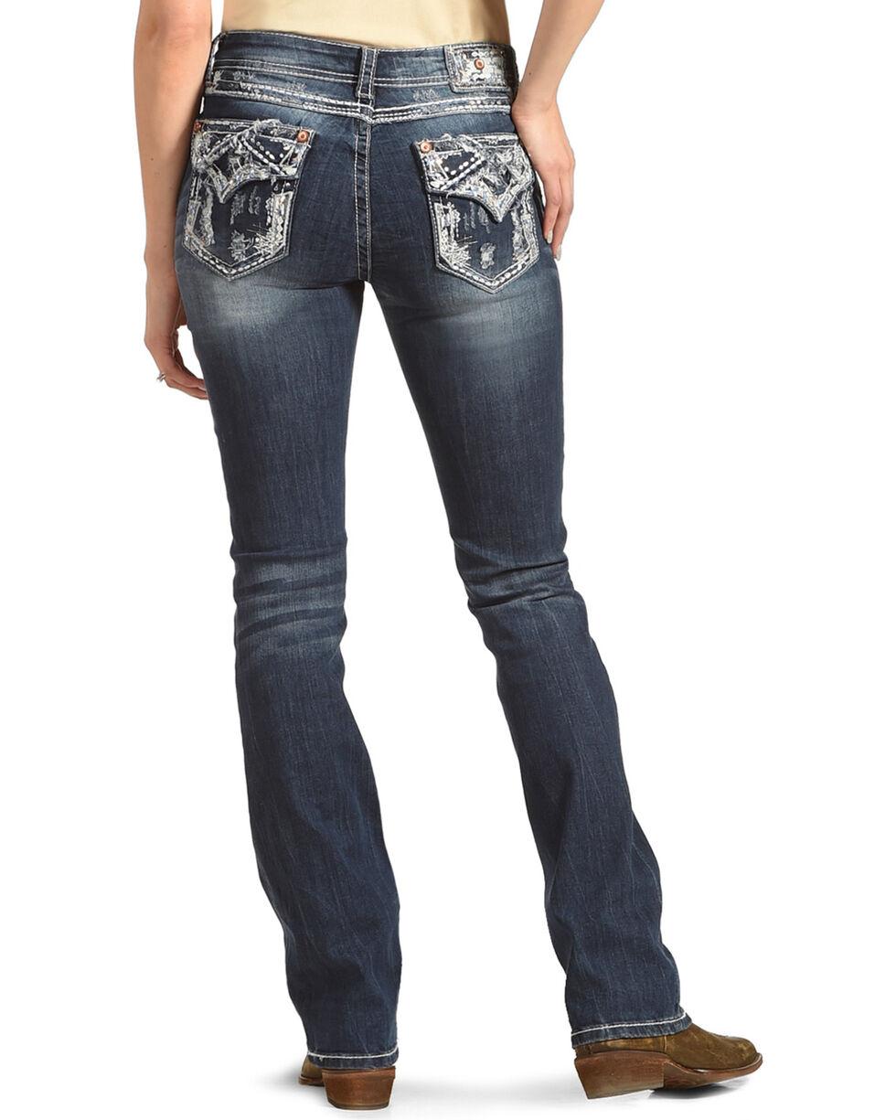 Grace in LA Women's Blue Faith Easy Fit Jeans - Boot Cut , , hi-res