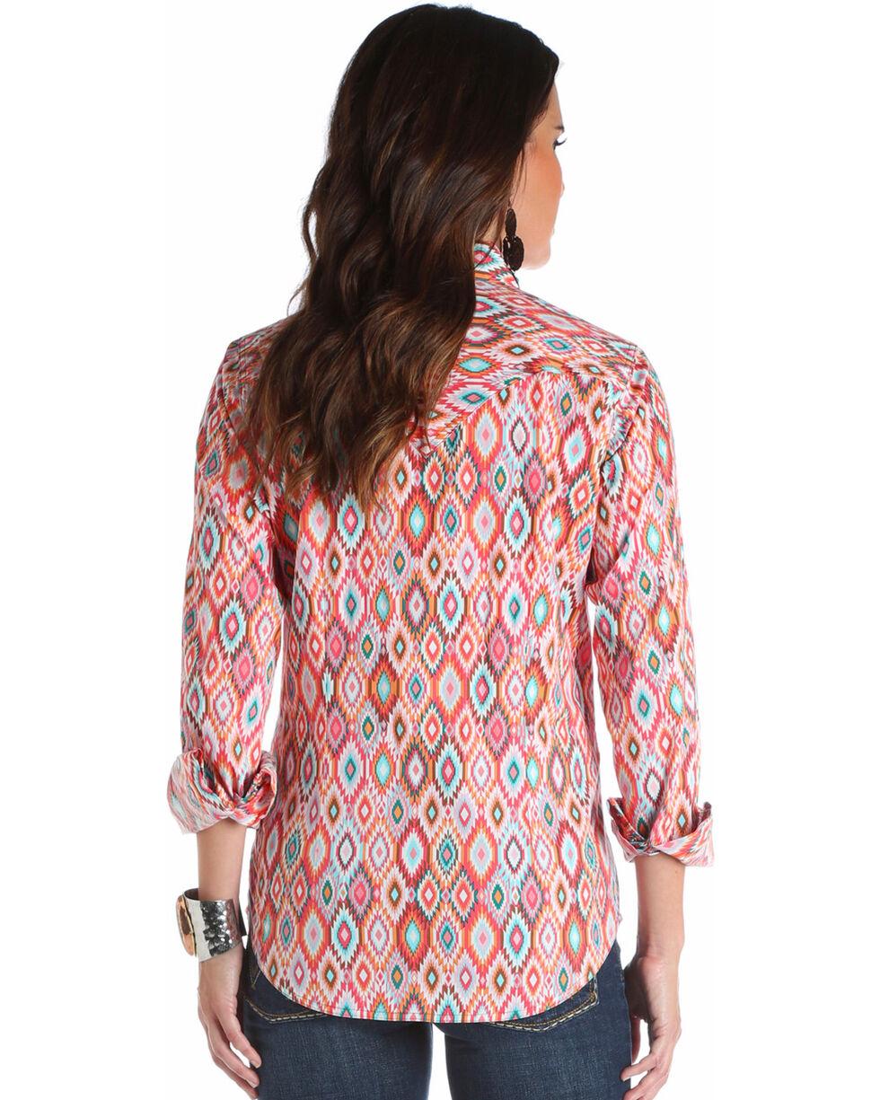 Wrangler Women's Coral Aztec Print Shirt , Multi, hi-res