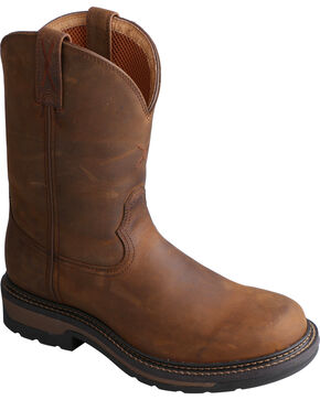 "Twisted Men's 10"" Distressed Brown Lite Cowboy Work Boots - Steel Toe, Distressed, hi-res"