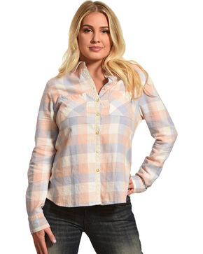 Shyanne Women's Long Sleeve Aztec Braid Placket Flannel Shirt, Multi, hi-res