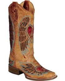 Corral Distressed Heart and Wing Inlay Cowgirl Boots - Square Toe, , hi-res