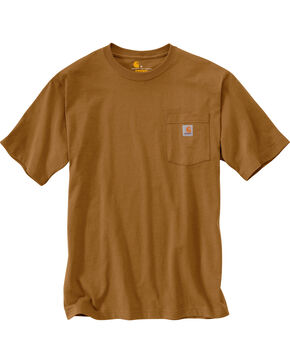 Carhartt Short Sleeve Pocket Work T-Shirt, Brown, hi-res