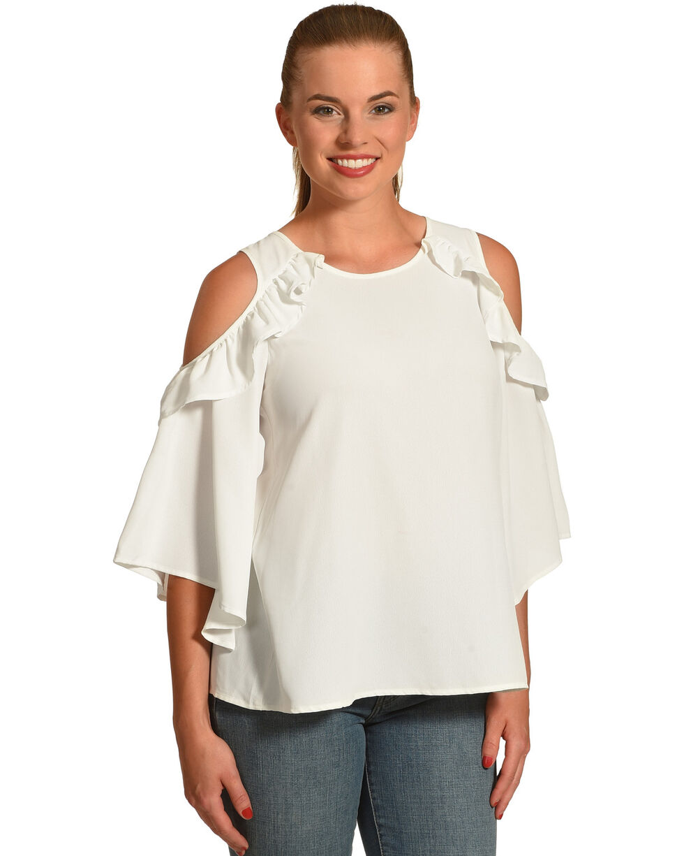 Polagram Women's White Cold Should Ruffle Top , White, hi-res