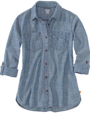 Carhartt Women's Indigo Fairview Solid Shirt , Indigo, hi-res