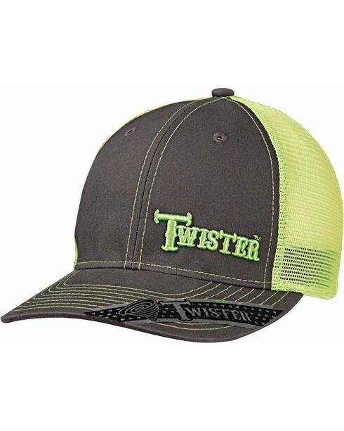 Twister Men's Grey Offset Green Text Baseball Cap , Bright Green, hi-res