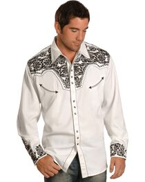 Scully Pewter-tone Embroidery Retro Western Shirt, , hi-res
