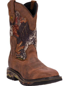 Dan Post Men's Hunter Camo Waterproof Pull On Work Boots, Saddle Tan, hi-res