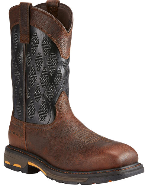 Ariat Men's Brown Workhog VenTek Matrix Boots - Square Toe , Brown, hi-res