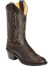 Old West Youth Boys' Oiled Corona Leather Cowboy Boots, , hi-res
