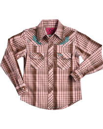 Cowgirl Hardware Girls' Faded Rose Embroidered Plaid Long Sleeve Shirt, Pink, hi-res