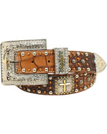 Ariat Women's Croc Studded Cross Concho Belt , Brown, hi-res