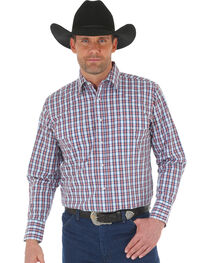 Wrangler Men's Wrinkle Resistant Navy Plaid Western Snap Shirt, , hi-res