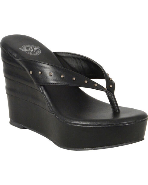 Milwaukee Leather Women's Black Studded Wedge Sandals , Black, hi-res