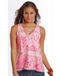 Rock & Roll Cowgirl Women's Pink Printed Georgette Back Tank , , hi-res