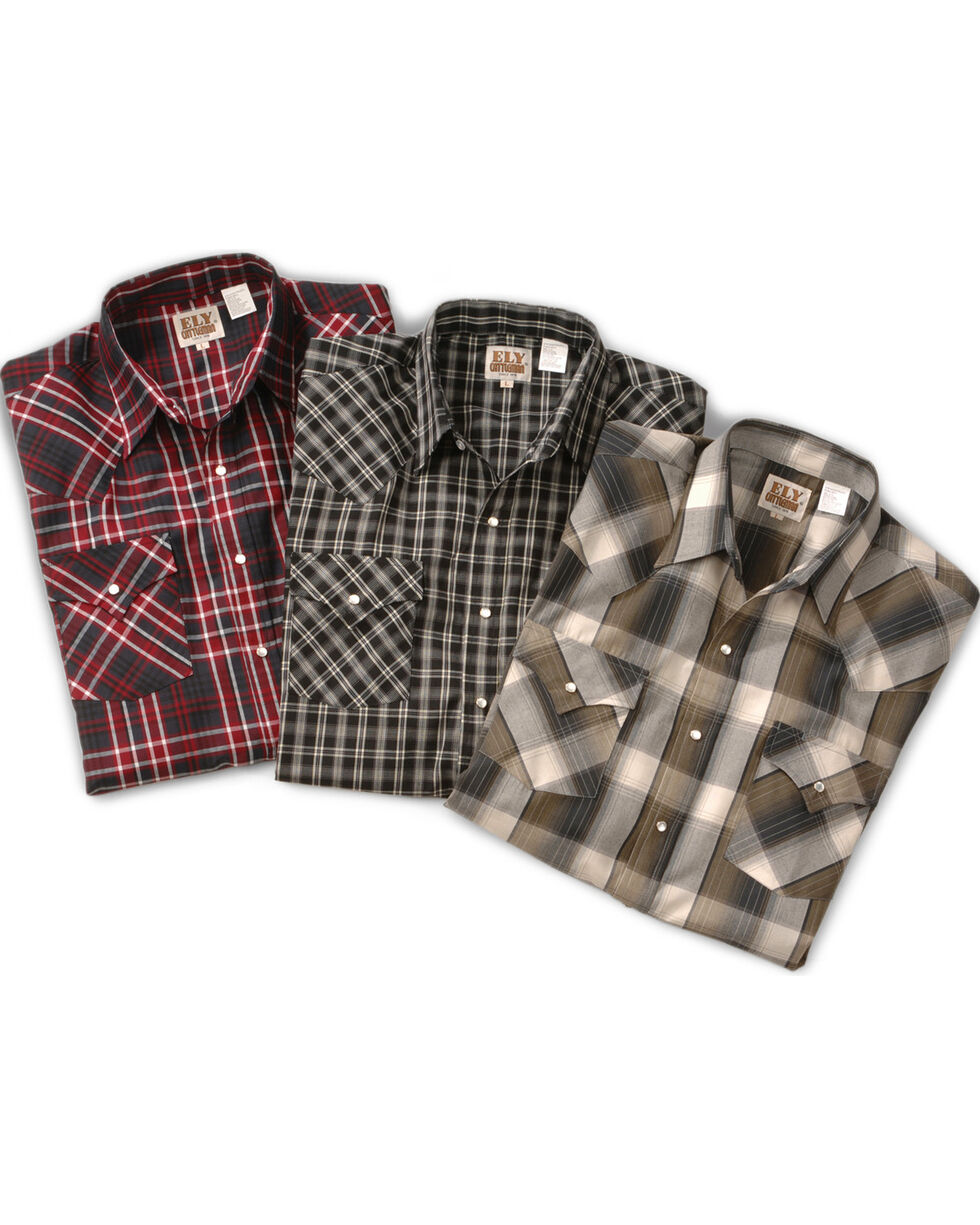 Ely Assorted Plaid or Stripe Short Sleeve Western Shirt - Big, Tall, Big/Tall, Plaid, hi-res