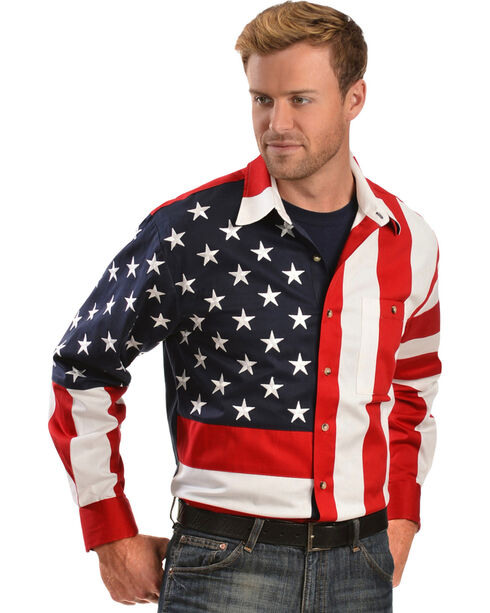 Scully Men's American Flag Western Shirt, Multi, hi-res