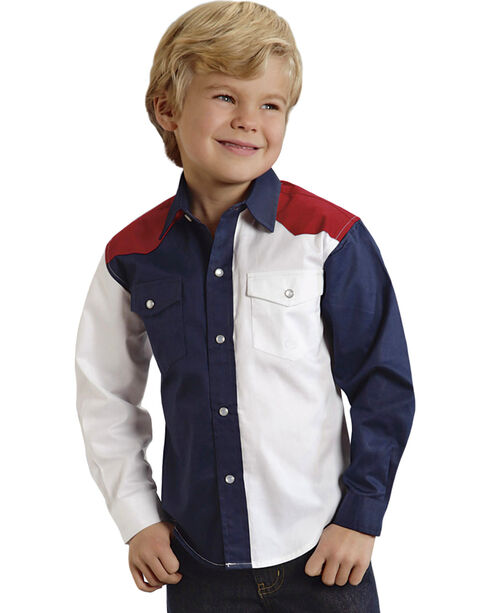 Roper Americana Collection Boys' Solid Block Western Shirt, Patriotic, hi-res