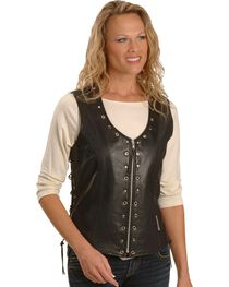 Milwaukee Women's Daisy Leather Motorcycle Vest, , hi-res