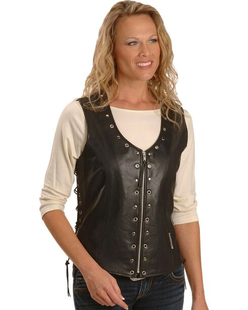 Milwaukee Women's Daisy Leather Motorcycle Vest, Black, hi-res