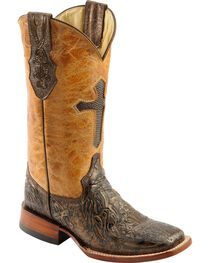 Ferrini Embossed Cross Inlay Cowgirl Boots - Wide Square Toe, , hi-res