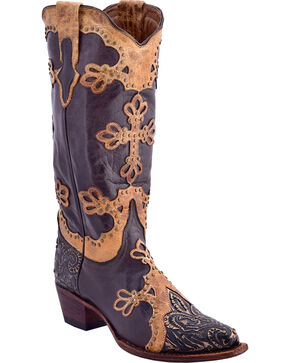 Ferrini Women's Embossed Diva Western Boots - Snip Toe, Chocolate, hi-res