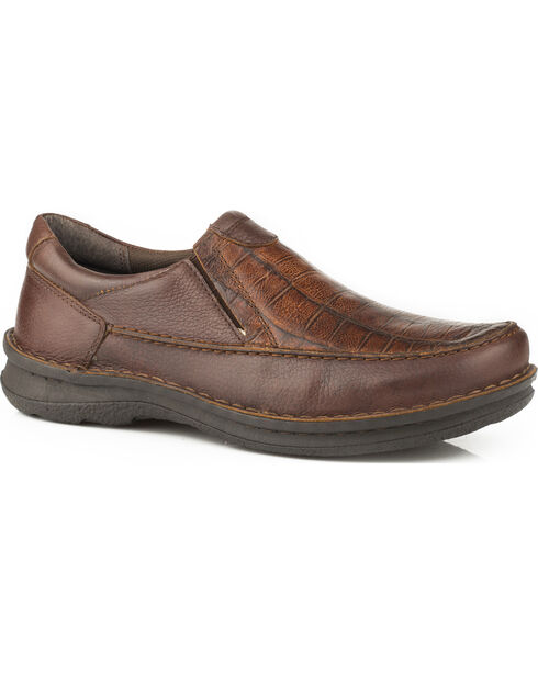 Roper Men's Paxton Faux Gator Slip on Shoes - Round Toe, Brown, hi-res