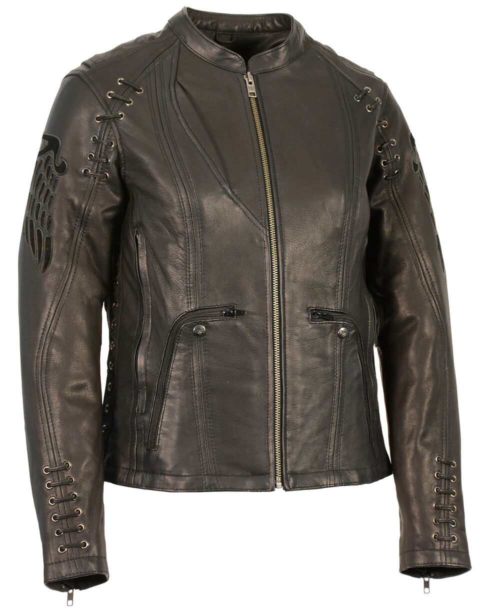 Milwaukee Leather Women's Lightweight Scuba Racer Jacket, Black, hi-res
