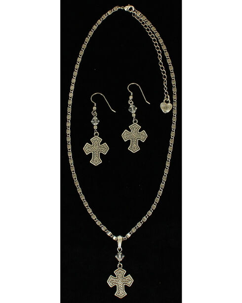 Lightning Ridge Engraved Cross Pendant Necklace Set, Multi, hi-res