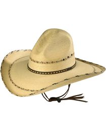 Larry Mahan 30X Pancho Gus Palm Straw Western Hat, , hi-res