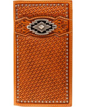 Ariat Basketweave Aztec Concho Rodeo Wallet, Tan, hi-res