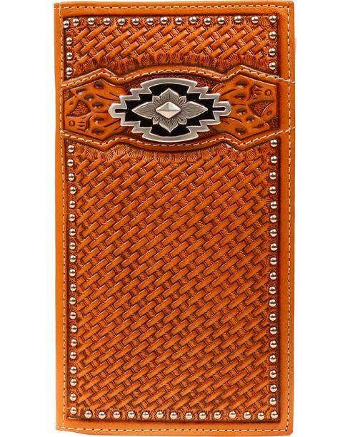 Ariat Basketweave Aztec Concho Rodeo Wallet, Tan, hi-res