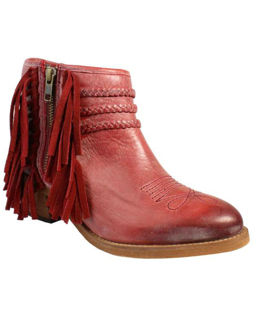 Corral Women's Woven Fringe Trim Ankle Boots, Red, hi-res