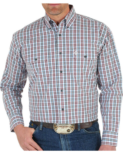 Wrangler George Strait Plaid Long Sleeve Shirt - Tall , White, hi-res