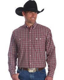 Wrangler Men's Burgundy George Strait Button Down Plaid Shirt , , hi-res