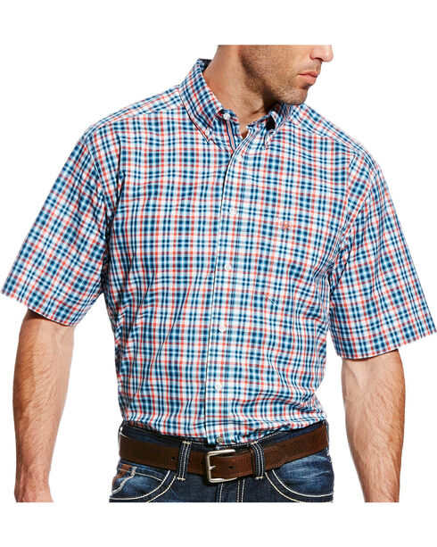Ariat Men's Pro Series Fisher Plaid Short Sleeve Button Down Shirt - Big & Tall, Blue, hi-res