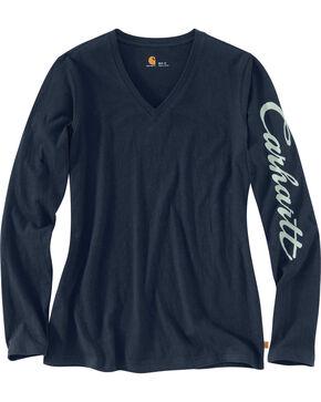 Carhartt Women's Wellton Graphic Sleeve V-Neck T-Shirt , Navy, hi-res