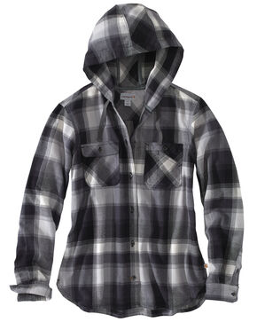 Carhartt Women's Beartooth Hooded Flannel Shirt, Dark Grey, hi-res