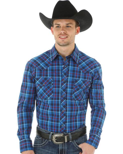 Wrangler 20X Advanced Comfort Plaid Long Sleeve Shirt, Blue, hi-res