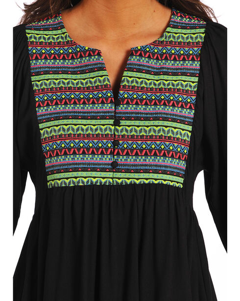 Rock & Roll Cowgirl Women's Embroidered Yoke Dress , Black, hi-res