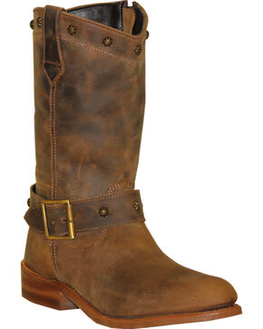 "Sage Women's 10"" Strap & Buckle Wellington Boots, Brown, hi-res"