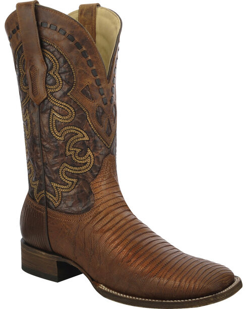 Corral Men's Lizard Square Toe Exotic Boots, Tan, hi-res