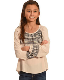 Miss Me Girls' Taupe Embroidered Long Sleeve Top , , hi-res