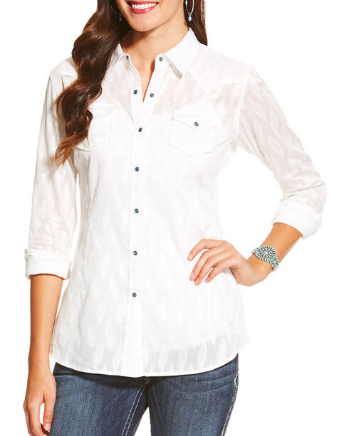 Ariat Women's Borrendo Long Sleeve Shirt, White, hi-res