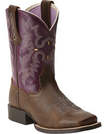 Ariat Youth Girls' Tombstone Boots - Square Toe, , hi-res