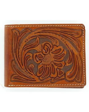 Nocona Tooled Bi-Fold Wallet, Tan, hi-res