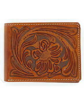 Nocona Tooled Bi-Fold Wallet, Tan, hi-res
