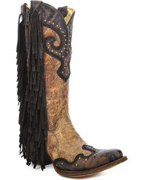 Corral Women's Studded Fringe Western Boots, , hi-res