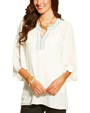Ariat Women's Embroidered Long Sleeve Blouse, White, hi-res